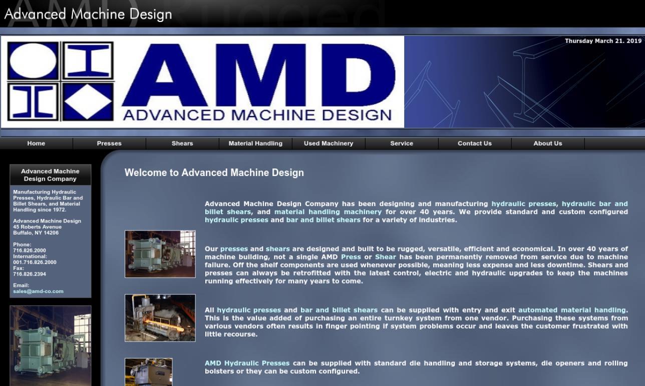 Advanced Machine Design Company | Hydraulic Press Manufacturers